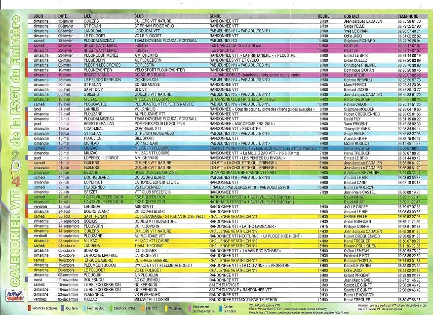 calendrier vtt 2014
